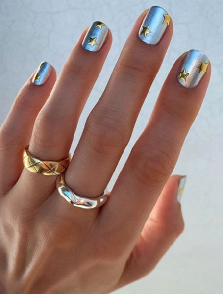 Chrome and Gold Star Manicure